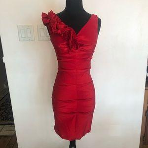 Red Olivia asymmetric formal dress size S
